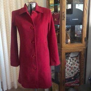 L.L. Bean Classic Berry Red Wool 3/4 Length Coat 4